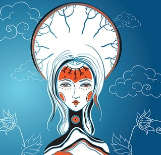 Vector illustration of the Goddess. Female archetype. Mother nature concepts. eps 10